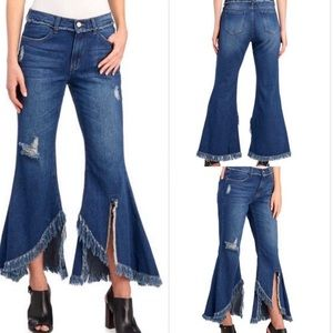 For the Republic Jeans - For the Republic Fringed Benefits Bellbottom Jeans
